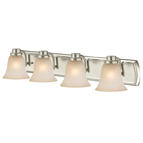 Design Classics Lighting Caramel Glass Bathroom Light in Satin Nickel with Four Lights 1204-09 GL9222-CAR