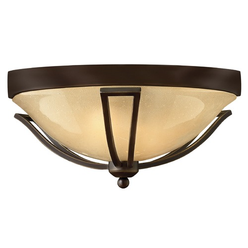 Hinkley Lighting Close To Ceiling Light with Amber Glass in Olde Bronze Finish 2633OB
