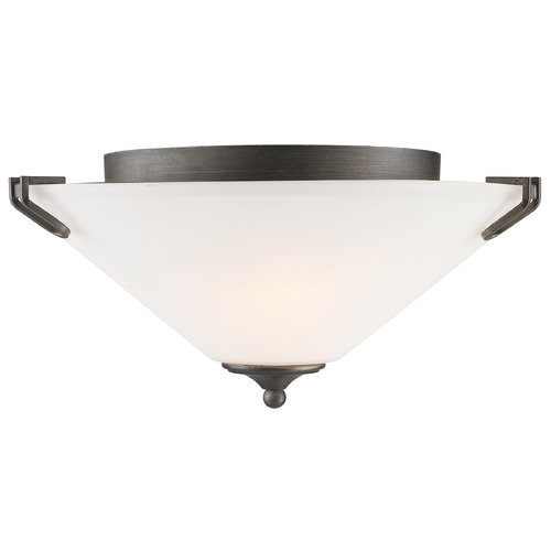 Golden Lighting Golden Lighting Presilla Gunmetal Bronze Flushmount Light 9363-FM GMT-OP