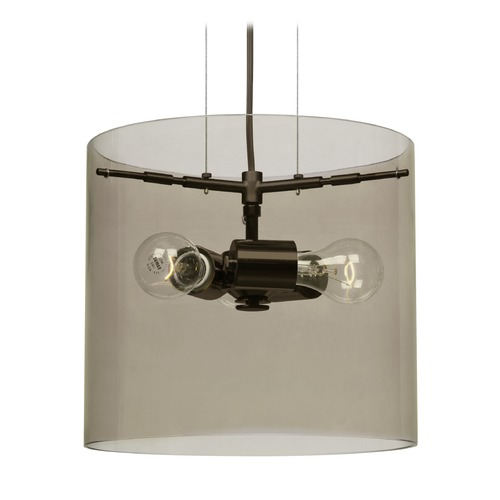 Besa Lighting Besa Lighting Pahu Bronze Pendant Light with Drum Shade 1KG-S18407-BR-NI