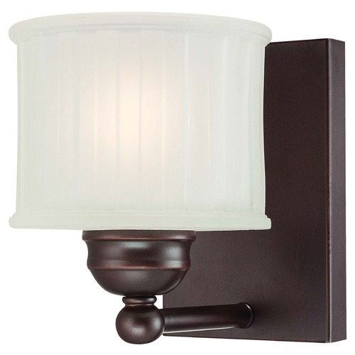 Minka Lavery Modern Sconce with White Glass in Lathan Bronze Finish 6731-167