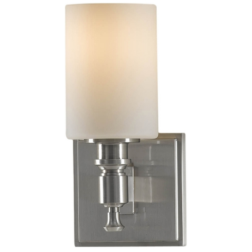 Feiss Lighting Modern Sconce Wall Light with White Glass in Brushed Steel Finish VS16101-BS