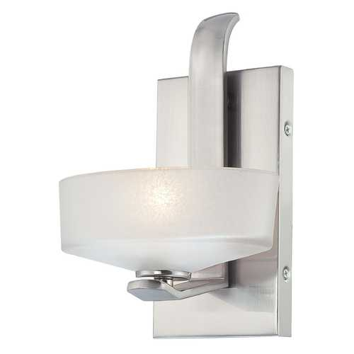 Minka Lavery Sconce with White Glass in Brushed Nickel Finish 4221-84