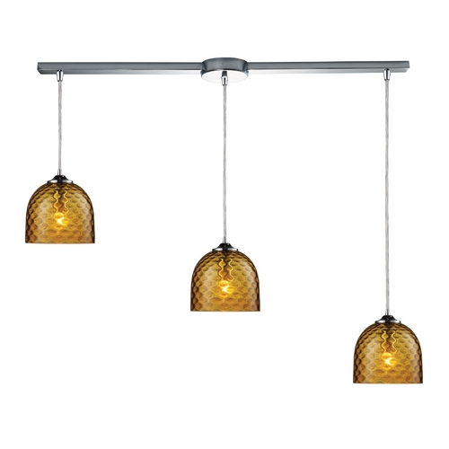 Elk Lighting Multi-Light Pendant Light with Amber Glass and 3-Lights 31080/3L-AMB