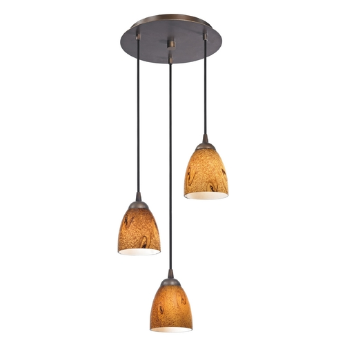Design Classics Lighting Modern Multi-Light Pendant Light with Brown Art Glass and 3-Lights 583-220 GL1001MB