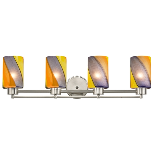 Design Classics Lighting Modern Bathroom Light with Art Glass in Satin Nickel Finish 704-09 GL1015C