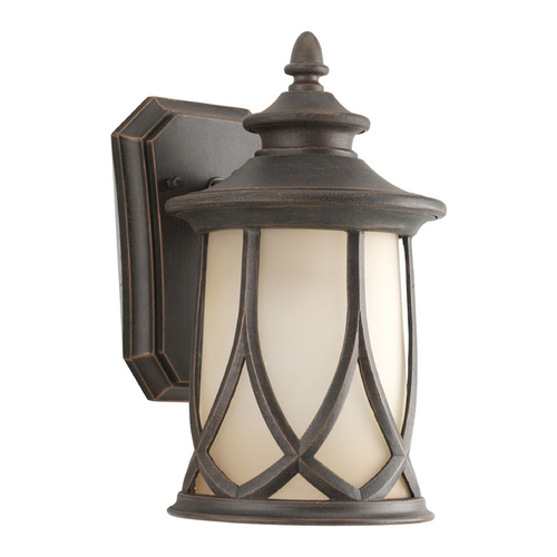 Progress Lighting Progress Outdoor Wall Light with Brown Glass in Aged Copper Finish P5987-122
