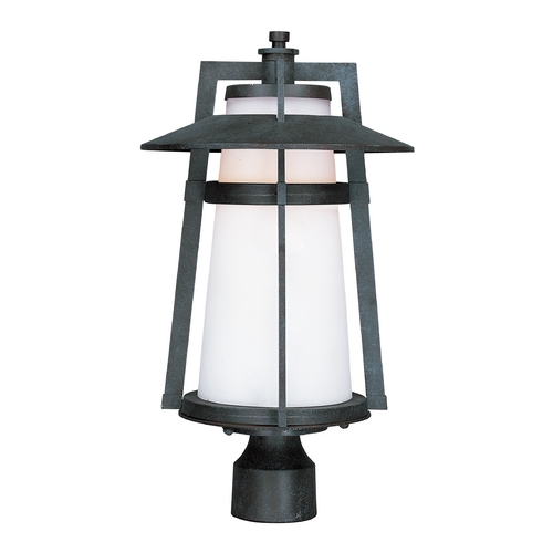 Maxim Lighting Post Light with White Glass in Adobe Finish 3530SWAE