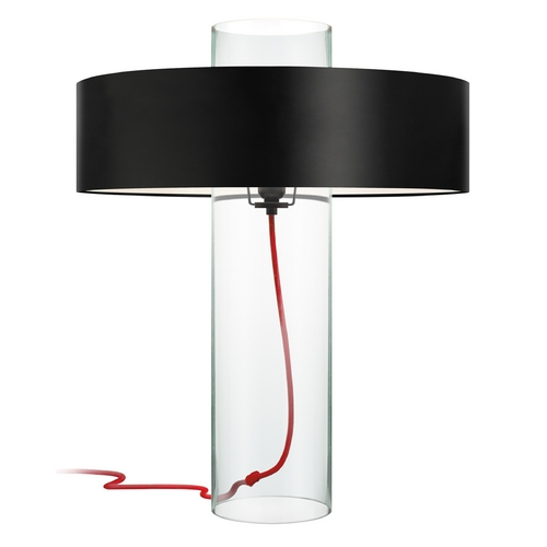 Sonneman Lighting Modern Table Lamp with Black Paper Shade in Clear Glass Finish 4755.87K