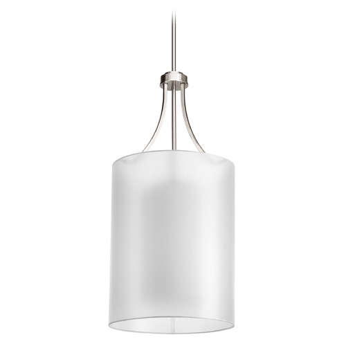 Progress Lighting Pendant Light with White Glass in Brushed Nickel Finish P5046-09