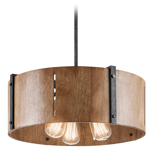 Kichler Lighting Kichler Lighting Elbur Distressed Black Pendant Light with Drum Shade 42644DBK