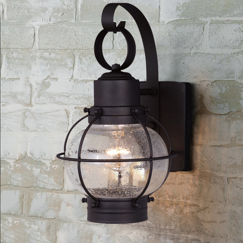 Vaxcel Lighting Seeded Glass Outdoor Wall Light Black Vaxcel Lighting OW21861TB