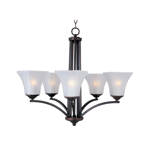 Maxim Lighting Modern Chandelier with White Glass in Oil Rubbed Bronze Finish 20095FTOI