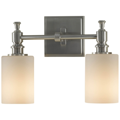 Feiss Lighting Modern Bathroom Light with White Glass in Brushed Steel Finish VS16102-BS