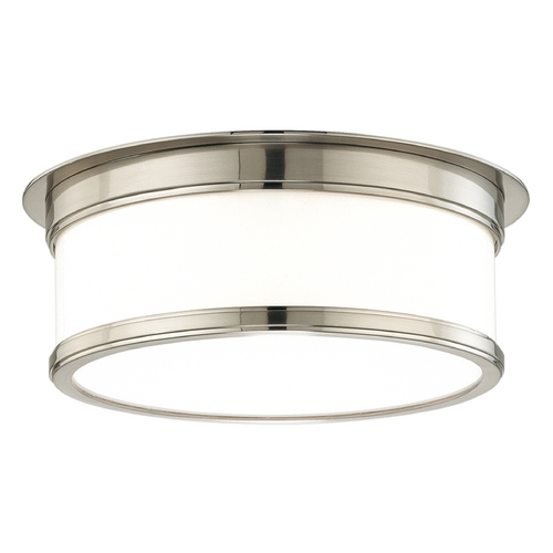 Hudson Valley Lighting Flushmount Light with White Glass in Satin Nickel Finish 715-SN