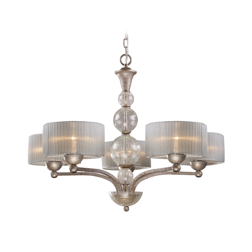 Elk Lighting Modern Chandelier with Silver Shade in Antique Silver Finish 20009/5
