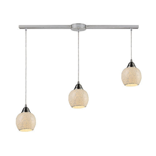 Elk Lighting Multi-Light Pendant Light with Beige / Cream Glass and 3-Lights 10208/3L-CLD