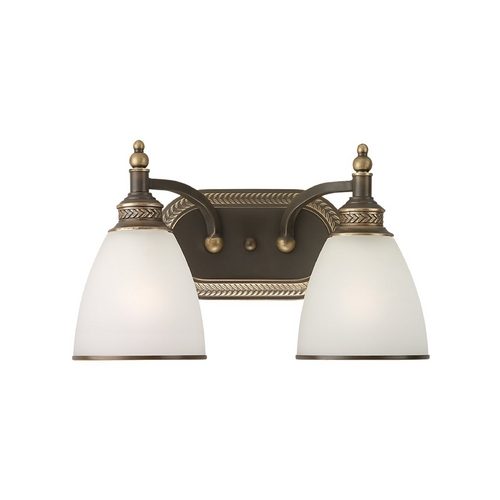 Sea Gull Lighting Bathroom Light with White Glass in Estate Bronze Finish 44350-708