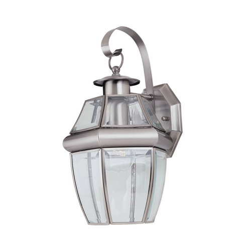 Sea Gull Lighting Outdoor Wall Light with Clear Glass in Antique Brushed Nickel Finish 8037-965