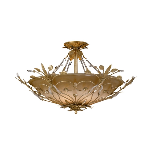 Crystorama Lighting Crystal Semi-Flushmount Light with Amber Glass in Gold Leaf Finish 4707-GL