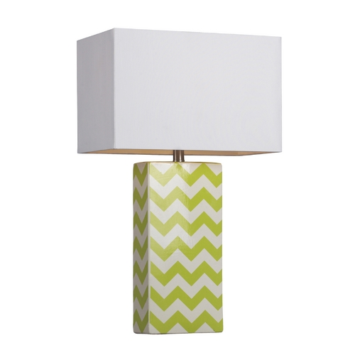 Dimond Lighting Table Lamp with Chevron Pattern and White Rectangle Shade D278