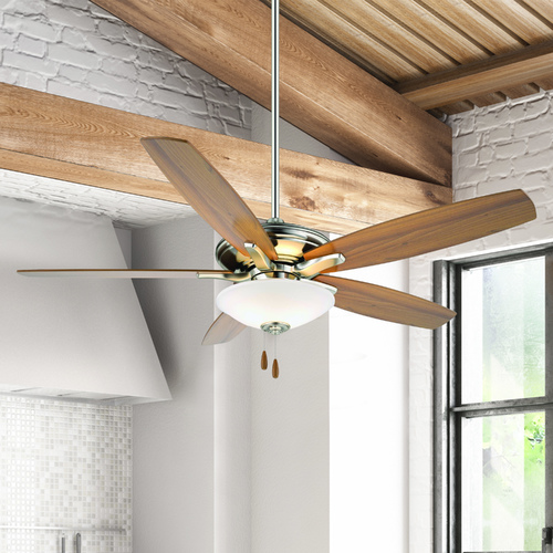 Minka Aire 52-Inch Ceiling Fan with Light with White Glass in Brushed Nickel Finish F522-BN