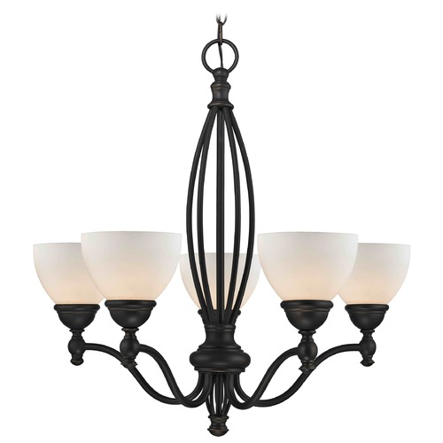 Design Classics Lighting Satin White Glass Traditional Chandelier - Bolivian Finish 2920-78 GL1033-WH