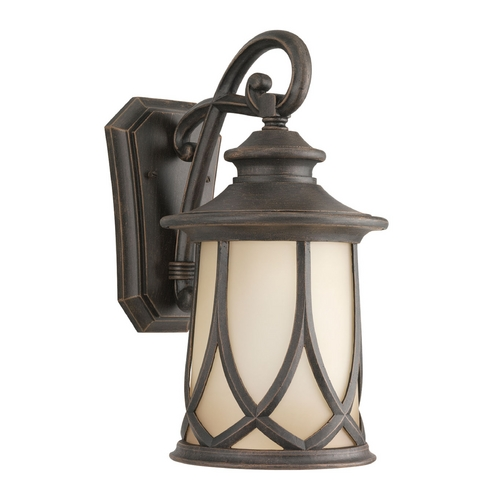 Progress Lighting Progress Outdoor Wall Light with Brown Glass in Aged Copper Finish P5988-122