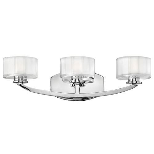 Hinkley Lighting Bathroom Light with White Glass in Chrome Finish 5593CM