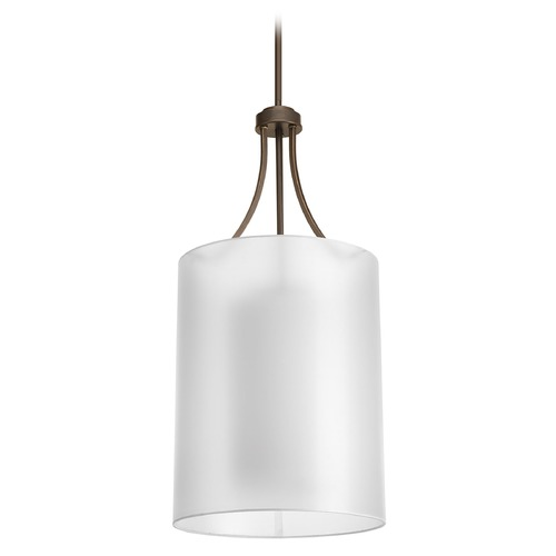Progress Lighting Pendant Light with White Glass in Antique Bronze Finish P5046-20
