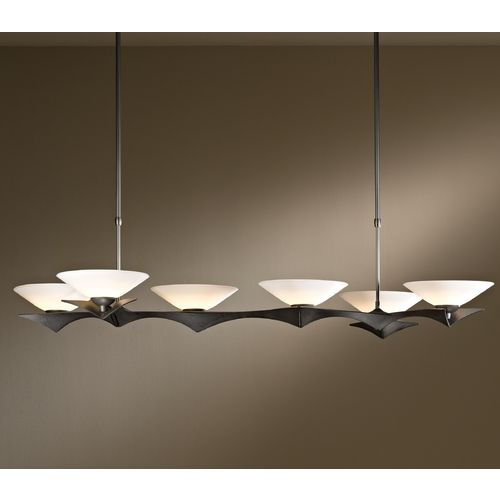 Hubbardton Forge Lighting Hubbardton Forge Lighting Moreau Dark Smoke Island Light with Conical Shade 136555-07-G396