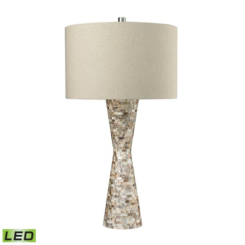 Dimond Lighting Dimond Lighting Natural Mother Of Pearl Shell LED Table Lamp with Drum Shade D2607-LED