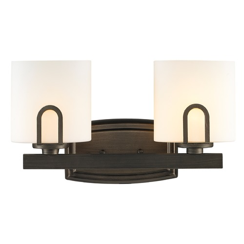 Golden Lighting Golden Lighting Presilla Gunmetal Bronze Bathroom Light 9363-BA2 GMT-OP