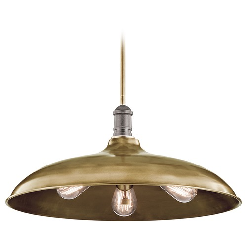 Kichler Lighting Kichler Lighting Cobson Natural Brass Pendant Light with Bowl / Dome Shade 42649NBR
