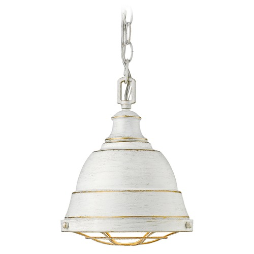 Golden Lighting Golden Lighting Bartlett French White Mini-Pendant Light with Bowl / Dome Shade 7312-S FW