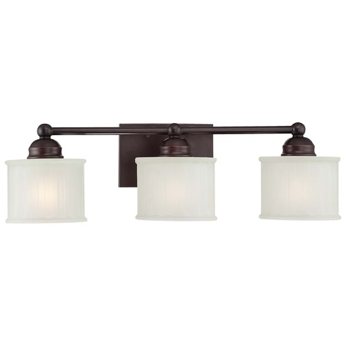 Minka Lavery Modern Bathroom Light with White Glass in Lathan Bronze Finish 6733-167