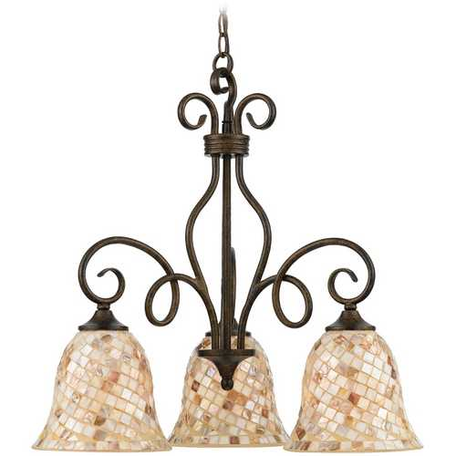 Quoizel Lighting Chandelier with Multi-Color Glass in Malaga Finish MY5103ML