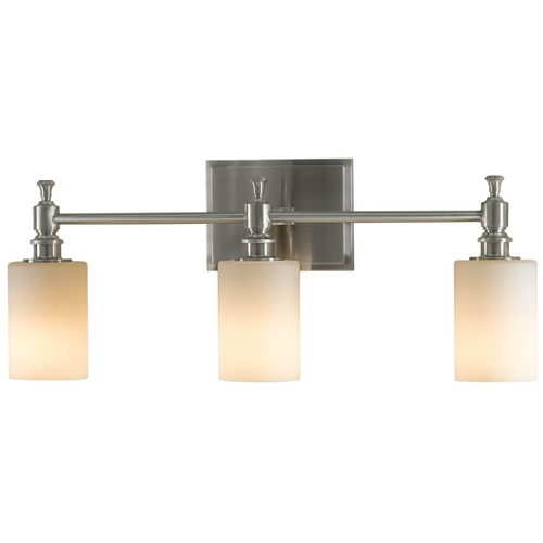 Feiss Lighting Modern Bathroom Light with White Glass in Brushed Steel Finish VS16103-BS