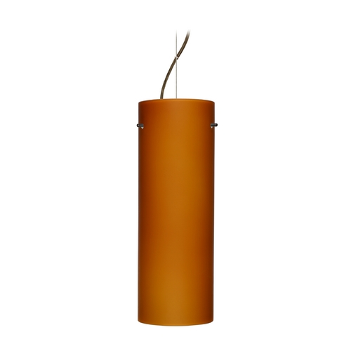 Besa Lighting Modern Pendant Light Amber Glass Bronze by Besa Lighting 1KX-412880-BR