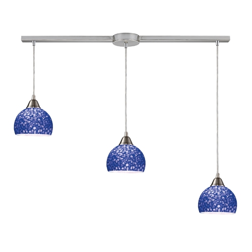 Elk Lighting Modern Multi-Light Pendant Light with Blue Glass and 3-Lights 10143/3L-PB