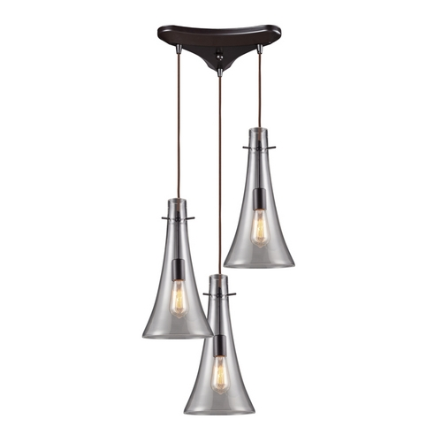 Elk Lighting Modern Multi-Light Pendant with Clear Glass in Oiled Bronze Finish 60045-3