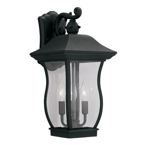 Designers Fountain Lighting Outdoor Wall Light with Clear Glass in Black Finish 2722-BK