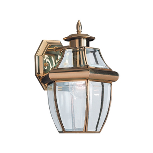 Sea Gull Lighting Outdoor Wall Light with Clear Glass in Polished Brass Finish 8038-02