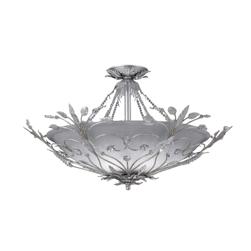 Crystorama Lighting Crystal Semi-Flushmount Light with White Glass in Silver Leaf Finish 4707-SL