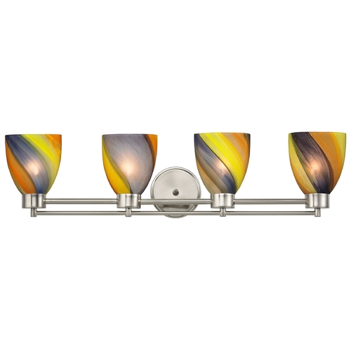Design Classics Lighting Modern Bathroom Light with Art Glass in Satin Nickel Finish 704-09 GL1015MB
