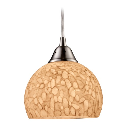 Elk Lighting Elk Lighting Cira Satin Nickel LED Mini-Pendant Light with Bowl / Dome Shade 10143/1PW-LED