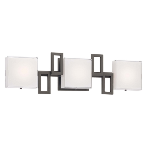 George Kovacs Lighting Modern LED Bathroom Light with White Glass in Bronze Finish P5313-467B-L