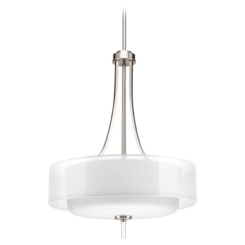 Progress Lighting Drum Pendant Light with White Glass in Brushed Nickel Finish P5047-09
