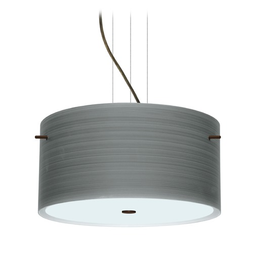 Besa Lighting Besa Lighting Tamburo Bronze LED Pendant Light with Drum Shade 1KV-4008TN-LED-BR