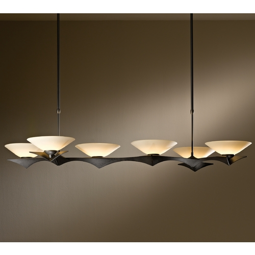 Hubbardton Forge Lighting Hubbardton Forge Lighting Moreau Dark Smoke Island Light with Conical Shade 136555-07-S396